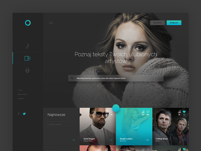 Music/Lyrics Webpage lyrics landing page ux ui flat tiles music