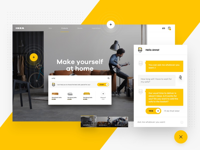 IKEA Online Experience Concept – Chat chat ikea redesign product bot e-commerce shop furniture interior landing