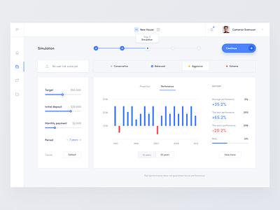 Robo Advisor - Projection bar chart steps progress bar dashboard gauge graph stats statistics finance financial onboarding icons