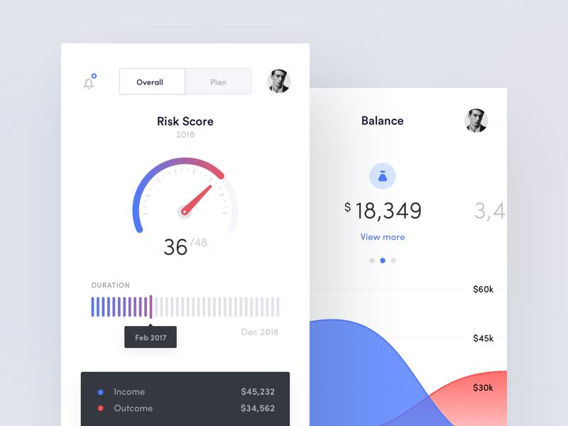 RoboAdvisor - Mobile Dashboard bank cryptocurrency fintech robo advisor mobile app chart dashboard gauge graph map statistics stats