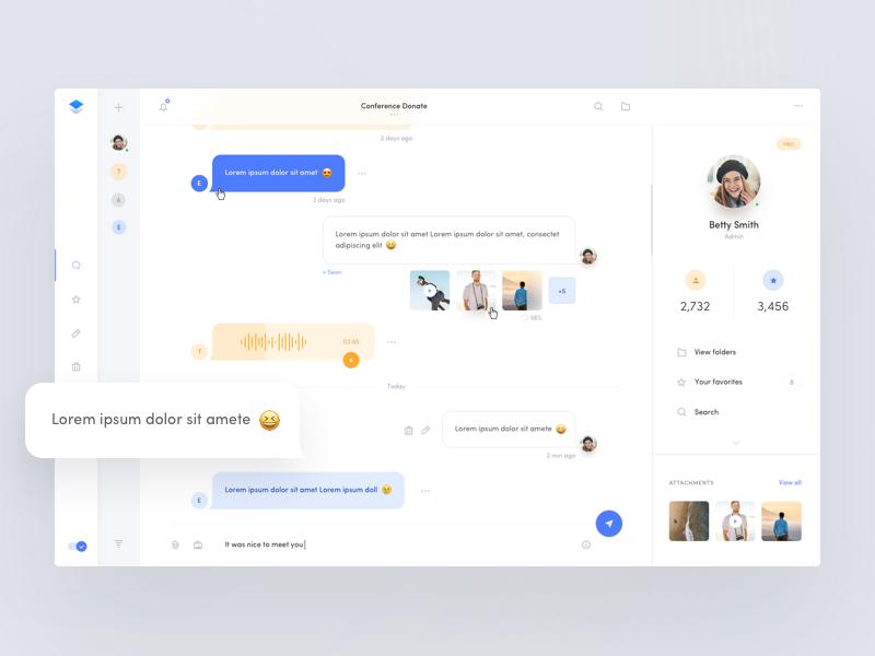 Chat/Messenger - Web App profile emoji inbox web app dashboard messages messenger chat