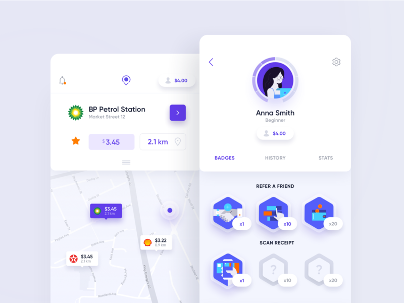 Trunow - Mobile App illustration icons rewards pin station petrol tabs profile dashboard ux ui mobile app badges map