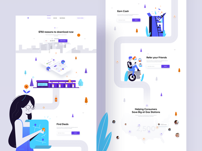 Trunow - Landing Page promo page ecommerce petrol landscape buildings way illustration icons landing page web app dashboard ux ui