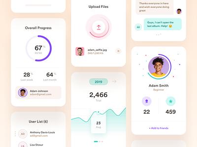 Widgets/Cards real estate finance mobile uploader badges statistics app ux ui dashboard chat icons profile circle graph progress upload