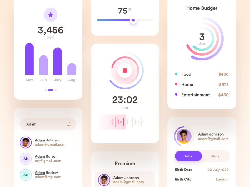 Widgets/Cards record sound slider upload progress graph circle profile icons chat dashboard ui ux app statistics badges uploader mobile finance real estate