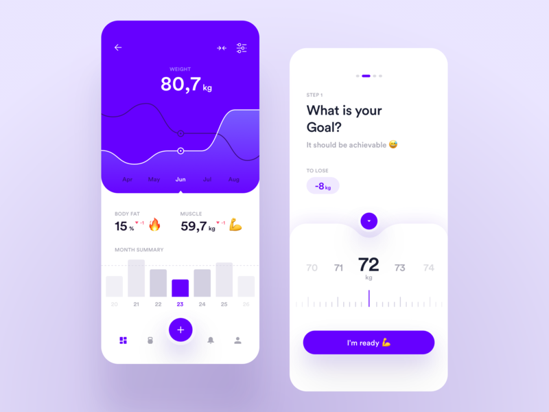 Mobile Fitness App health product design ui ux dashboard app fitness slider graph ios mobile statistics chart excercise stats analytics gym training workout