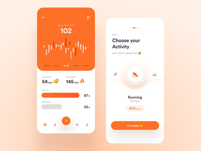 Mobile Fitness App heart rate workout training gym analytics stats excercise chart statistics mobile ios graph slider fitness app dashboard ux ui product design health
