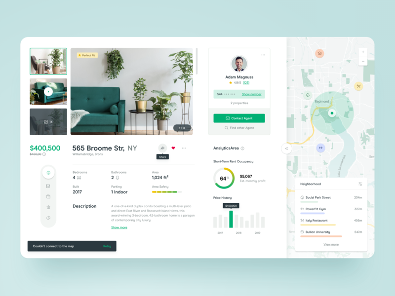 🏠Real Estate - Details ui statistics map hotel dashboard sell rent booking flat house real estate interior room property details filter tooltip apartment