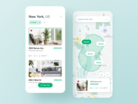 Real Estate - Mobile search house ipone property rental listing details flat apartment sell buy rent tiles mobile list real estate map dashboard ux ui