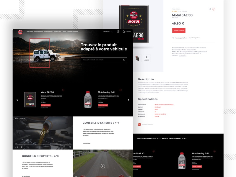 Motul Premium Oil shop web design landing page ecommerce shop user experience responsive design vintage car sketch website design website branding design ux illustration ui graphic  design