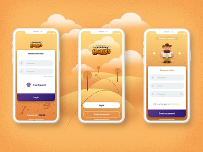 Treasure Hunters Mobile Game Concept avatar vector ux ui design treasure hunters mobile game mobile app uidesign ux design illustration graphic  design