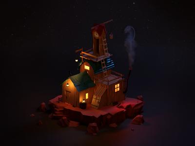 Clock Tower Cabin at Night