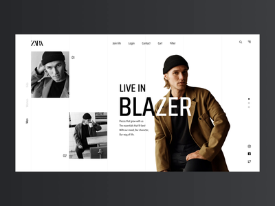 Zara website redesign exploration minimal online shopping clean zara landing page webpage animation clothes ecommerce