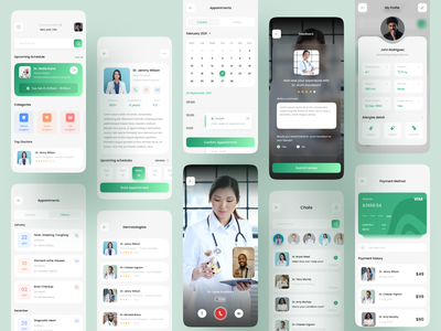 Medical app doctor consultation ui design minimal video call doctor detail glass payment cards mobile appointment healthcare health app medical medical app design appdesign app