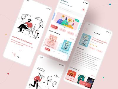 E-book app app appdesign uiux mobile app ui application ui online book illustraion minimal app design light book app ebook ebookapp