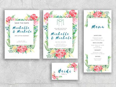 Watercolor Wedding Suite flowers floral watercolor placecard menu savethedate invitation weddinginvitation weddingsuite wedding