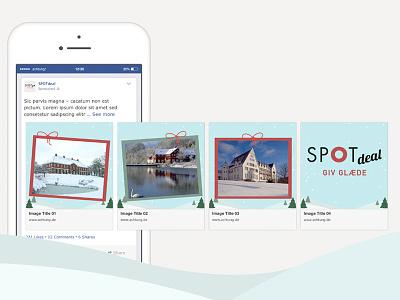 Juleidentitet på Facebook karrusel carousel facebook design identity christmas illustration