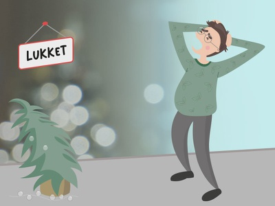 When the shops are closed and you forgot a Christmas present christmas illustration