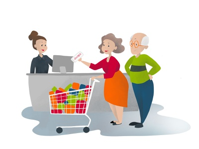Supermarket illustration design comic illustration