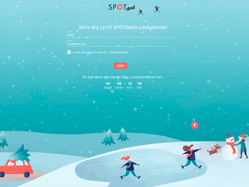 Sign-up landing page for the Christmas Calender 2019 design landingpage jul julekalender calender christmas illustration