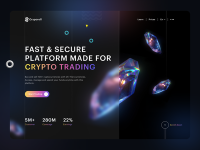 Crypcroll - cryptocurrency landing page ui 3d webdesign web dark ui ux dark design dailyui ui creative crystal landing page landingpage cryptocurrency crypto