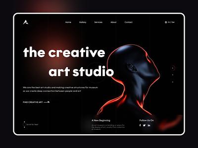 Allies - Creative Art studio Landing page design dark ui dark mode dark webdesign minimal uiux website creativity landingpage landing web art ui dailyui creative