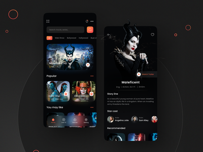 Movie streaming app dark ui design movies app design glassmorphism glass effect dark dailyui app ui mobile modern cinema app movie app movie