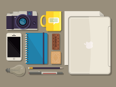 PR Toolkit illustration objects tools cup camera lightbulb biscuits pencil pen phone laptop paper