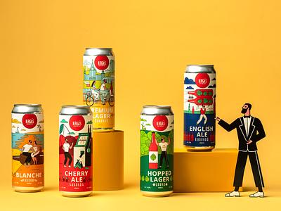 Varka. Craft Beer Design label packaging label packagingdesign unblvbl brandingdesign labeldesign beer branding design characterdesign flat illustration flat illustration yellow packaging branding