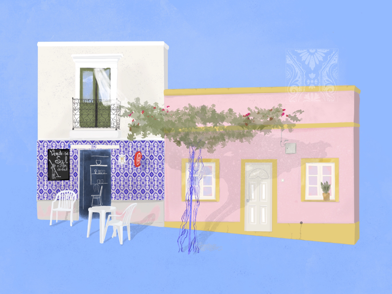 Streets of Portugal house procreate ipad art travel streets illustration portugal