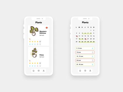 Plantz · Redesign redesign green minimalist reminder ui watering calendar desing plants