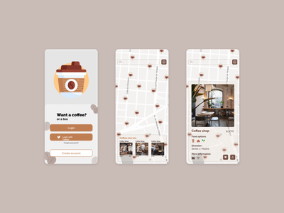 Coffee app illustration design ui ux search shop map bar coffeeshop menu login aplication app coffee cup coffee shop coffee