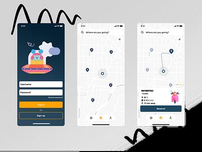 Carsharing app menu motorcycle map sign up login carsharing car blush illustration home ux design app ui