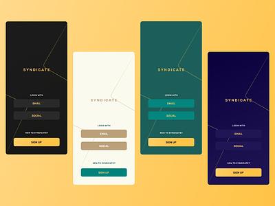 Login color options!! minimal yellow gradient button off white green indigo dark ui dark classy rich premium classic gold ios android app ui ux app design