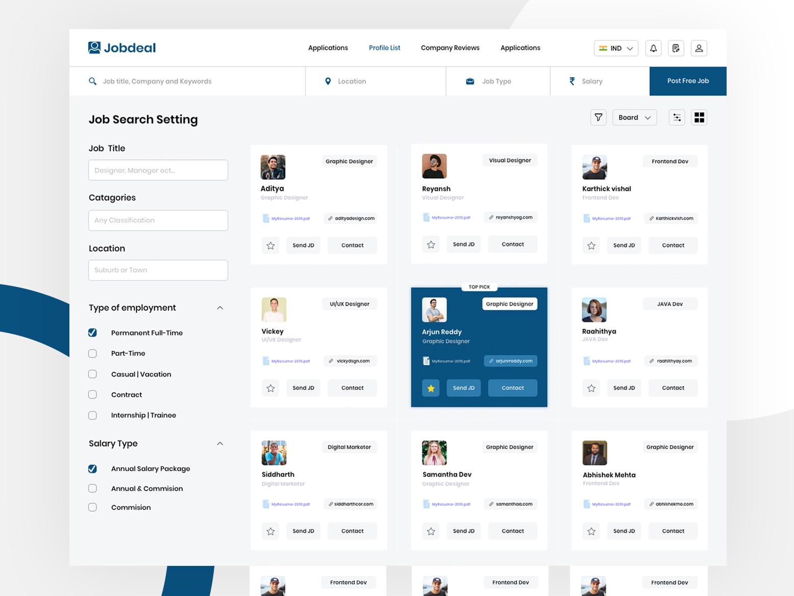 Minimal job post & Hiring Dashboard - Jobdeal webdesign web website planing research job board dashboard ui dashboad minimal design ui