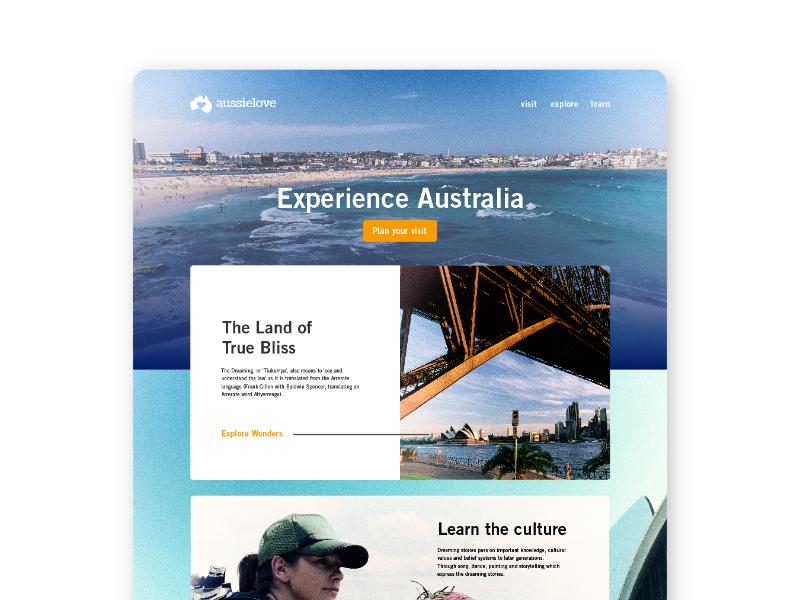 Landing Page for Aussie Love australia tourism travel agency logo design ux design ui design uidesign ui  ux