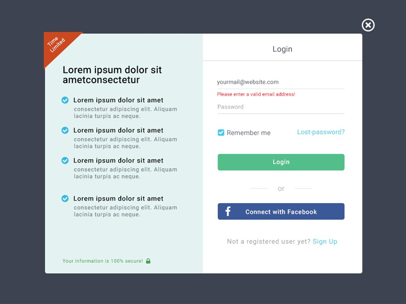 Login Design pop up login user ux ui in sign material login design dashboard app account
