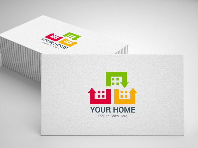 Construction Logo real estate property protect house home logo home construction city building builder build architects studio
