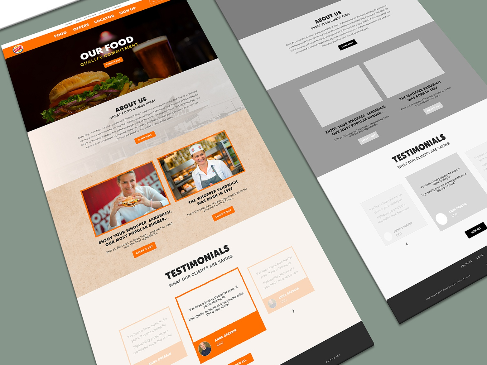 Web site design one page template landing page webdesign food website website website design