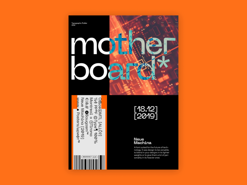 Mother Board Type Poster vector poster machine typography design ux ui