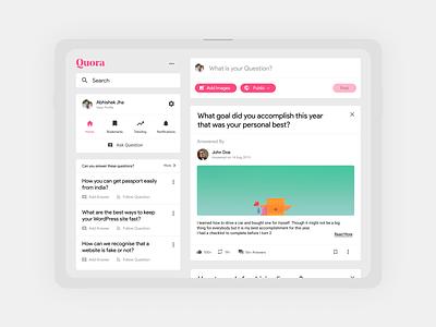 Quora Redesign ui design tablet responsive design website app redesign quora design ux ui