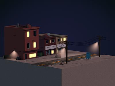 Low Poly Street Scene modeling draw design illustration 3d blender lowpoly street model cinema4d