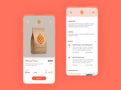 Wheat App design screen page buy ecommerce wheat mobile app design app ux ui
