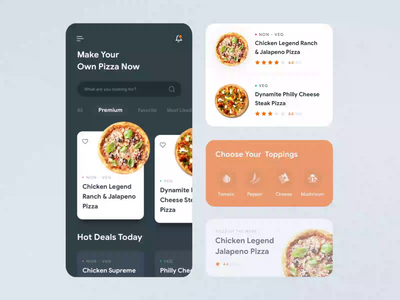 Popshot | UI Concept for Online Food Ordering App animation visual design uxui design ui design design ux ui