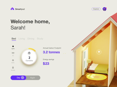 Interface Design for Smart Home App | Popshot by Lollypop iot development smarthome blender blender3d 3d uxui design branding animation ui design visual design illustration