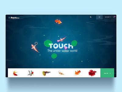 Online marketplace to buy aquarium fish | Popshot by Lollypop illustration art aquarium onlinemarket aftereffects 3d ui design animation visual design illustration