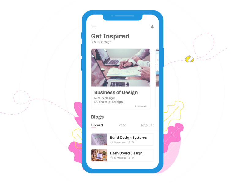 App for reading your favorite blogs ux  ui app design visual design app