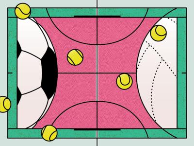 Hello dribbble! flat sport graphic design festival playground balls dribbble