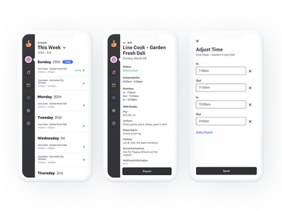Scheduling Concept clean ui white mobile app design app time tracking shifts material ui ios schedule app minimal design ux mobile app schedule mobile design ui