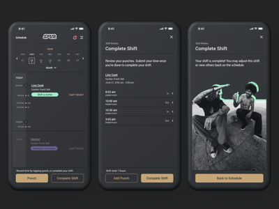 Spur Time Tracking dark ui dark mode product design visual design mobile app material design shift app design android ios app mobile employment schedule time tracking time